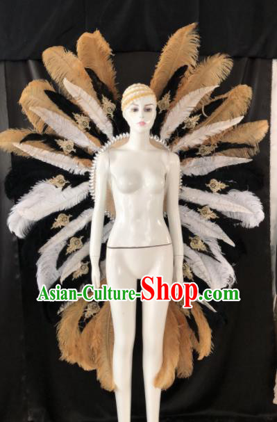 Customized Halloween Samba Dance Ostrich Feather Props Brazil Parade Giant Backboard for Women